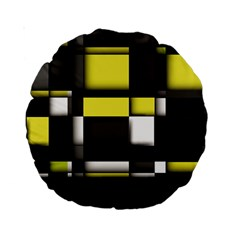 Color Geometry Shapes Plaid Yellow Black Standard 15  Premium Round Cushions by Alisyart