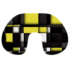 Color Geometry Shapes Plaid Yellow Black Travel Neck Pillows
