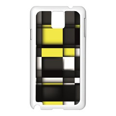 Color Geometry Shapes Plaid Yellow Black Samsung Galaxy Note 3 N9005 Case (white)