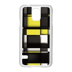 Color Geometry Shapes Plaid Yellow Black Samsung Galaxy S5 Case (white)