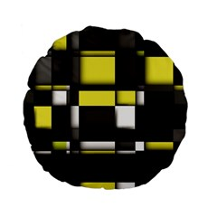 Color Geometry Shapes Plaid Yellow Black Standard 15  Premium Flano Round Cushions by Alisyart