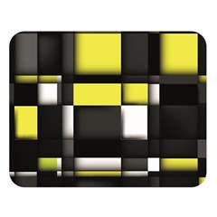Color Geometry Shapes Plaid Yellow Black Double Sided Flano Blanket (large)  by Alisyart