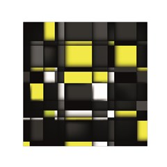 Color Geometry Shapes Plaid Yellow Black Small Satin Scarf (square)