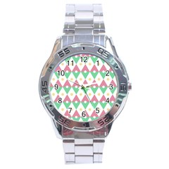 Diamond Green Circle Yellow Chevron Wave Stainless Steel Analogue Watch