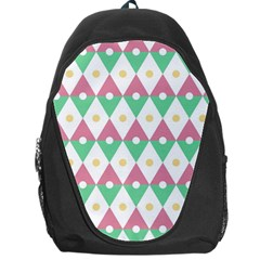 Diamond Green Circle Yellow Chevron Wave Backpack Bag by Alisyart