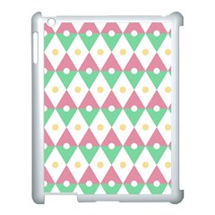 Diamond Green Circle Yellow Chevron Wave Apple Ipad 3/4 Case (white)