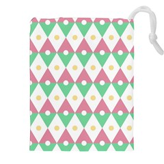 Diamond Green Circle Yellow Chevron Wave Drawstring Pouches (xxl) by Alisyart