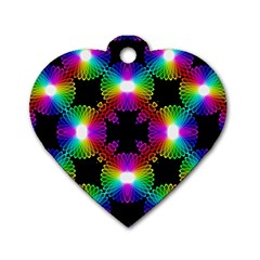 Circle Color Flower Dog Tag Heart (one Side)
