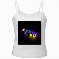 Dream Colors Neon Bright Words Letters Motivational Inspiration Text Statement White Spaghetti Tank