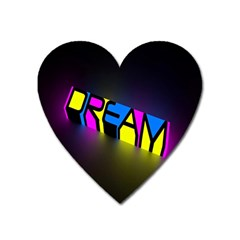 Dream Colors Neon Bright Words Letters Motivational Inspiration Text Statement Heart Magnet by Alisyart