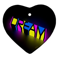 Dream Colors Neon Bright Words Letters Motivational Inspiration Text Statement Heart Ornament (two Sides) by Alisyart