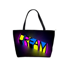 Dream Colors Neon Bright Words Letters Motivational Inspiration Text Statement Shoulder Handbags by Alisyart
