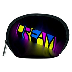 Dream Colors Neon Bright Words Letters Motivational Inspiration Text Statement Accessory Pouches (medium)