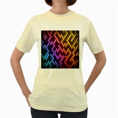 Colorful Abstract Plaid Rainbow Gold Purple Blue Women s Yellow T Shirt