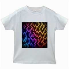 Colorful Abstract Plaid Rainbow Gold Purple Blue Kids White T Shirts