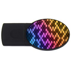 Colorful Abstract Plaid Rainbow Gold Purple Blue Usb Flash Drive Oval (2 Gb) by Alisyart