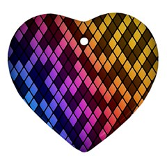 Colorful Abstract Plaid Rainbow Gold Purple Blue Heart Ornament (two Sides)