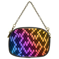 Colorful Abstract Plaid Rainbow Gold Purple Blue Chain Purses (one Side)