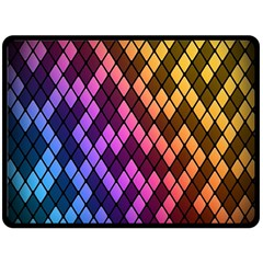 Colorful Abstract Plaid Rainbow Gold Purple Blue Fleece Blanket (large)