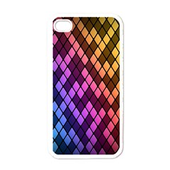 Colorful Abstract Plaid Rainbow Gold Purple Blue Apple Iphone 4 Case (white) by Alisyart