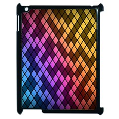 Colorful Abstract Plaid Rainbow Gold Purple Blue Apple Ipad 2 Case (black) by Alisyart