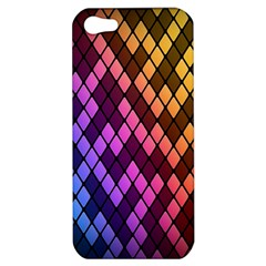 Colorful Abstract Plaid Rainbow Gold Purple Blue Apple Iphone 5 Hardshell Case
