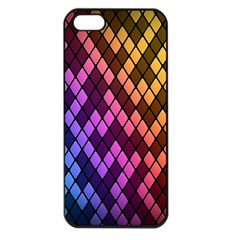 Colorful Abstract Plaid Rainbow Gold Purple Blue Apple Iphone 5 Seamless Case (black)