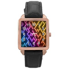 Colorful Abstract Plaid Rainbow Gold Purple Blue Rose Gold Leather Watch  by Alisyart