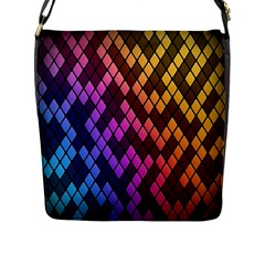 Colorful Abstract Plaid Rainbow Gold Purple Blue Flap Messenger Bag (l)