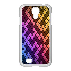 Colorful Abstract Plaid Rainbow Gold Purple Blue Samsung Galaxy S4 I9500/ I9505 Case (white)