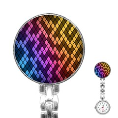 Colorful Abstract Plaid Rainbow Gold Purple Blue Stainless Steel Nurses Watch