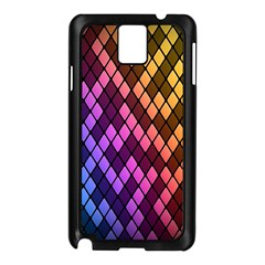 Colorful Abstract Plaid Rainbow Gold Purple Blue Samsung Galaxy Note 3 N9005 Case (black)