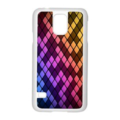Colorful Abstract Plaid Rainbow Gold Purple Blue Samsung Galaxy S5 Case (white)