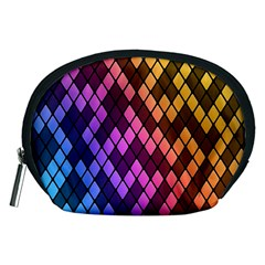 Colorful Abstract Plaid Rainbow Gold Purple Blue Accessory Pouches (medium)