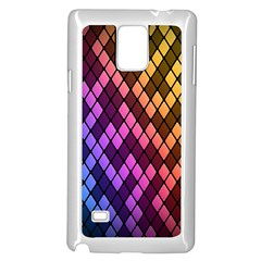 Colorful Abstract Plaid Rainbow Gold Purple Blue Samsung Galaxy Note 4 Case (white) by Alisyart