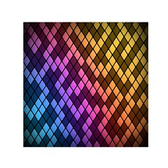Colorful Abstract Plaid Rainbow Gold Purple Blue Small Satin Scarf (square)