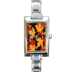 Dried Leaves Yellow Orange Piss Rectangle Italian Charm Watch by Alisyart