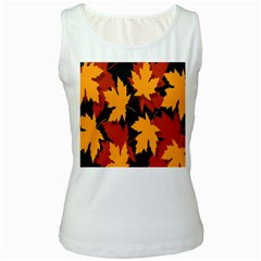 Dried Leaves Yellow Orange Piss Women s White Tank Top by Alisyart