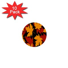 Dried Leaves Yellow Orange Piss 1  Mini Buttons (10 Pack)  by Alisyart