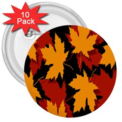 Dried Leaves Yellow Orange Piss 3  Buttons (10 Pack)