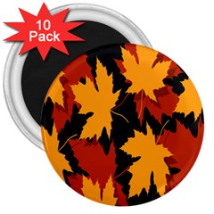 Dried Leaves Yellow Orange Piss 3  Magnets (10 Pack)  by Alisyart