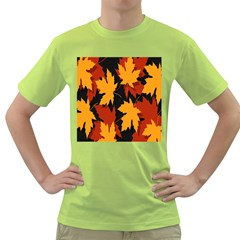 Dried Leaves Yellow Orange Piss Green T Shirt by Alisyart