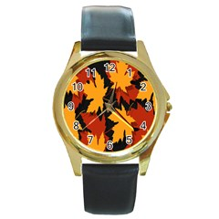 Dried Leaves Yellow Orange Piss Round Gold Metal Watch by Alisyart