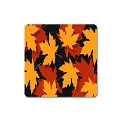 Dried Leaves Yellow Orange Piss Square Magnet by Alisyart