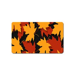 Dried Leaves Yellow Orange Piss Magnet (name Card) by Alisyart