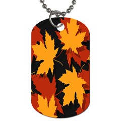 Dried Leaves Yellow Orange Piss Dog Tag (one Side) by Alisyart
