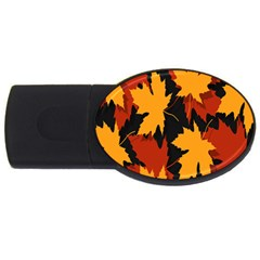 Dried Leaves Yellow Orange Piss Usb Flash Drive Oval (2 Gb) by Alisyart
