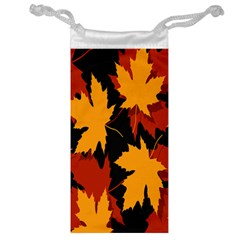 Dried Leaves Yellow Orange Piss Jewelry Bag by Alisyart