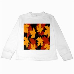 Dried Leaves Yellow Orange Piss Kids Long Sleeve T Shirts
