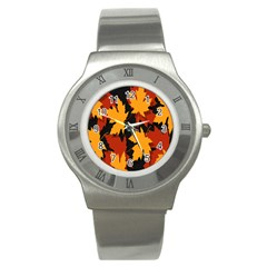 Dried Leaves Yellow Orange Piss Stainless Steel Watch by Alisyart